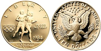 Modern United States commemorative coins - 1984 Olympic Runners Proof Ten Dollars