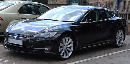 Tesla Model S, since 2012. 0 to 100 km/h in 2.5 seconds, recharging in 30 minutes to 80 percent, range 600 km 2015 Tesla Model S.jpg