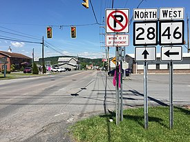 2016-06-18 12 01 31 View north along West Virginia Route 28 (Washington Street) at West Virginia State Route 46 (Green Street) in Fort Ashby, Mineral County, West Virginia.jpg