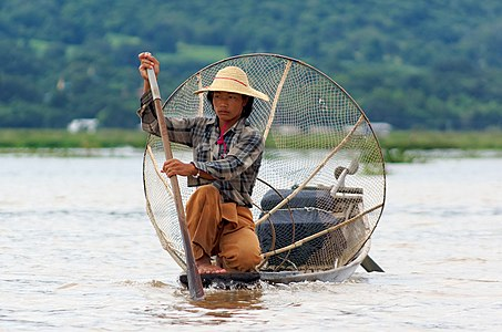 Fisherman on Inle Lake in Myanmar