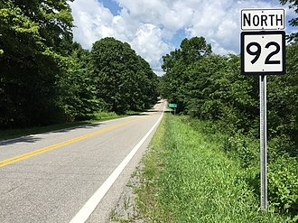 West Virginia Route 92 - View north along WV 92 at WV 38 in Nestorville