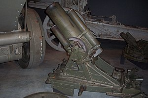25 cm schwerer Minenwerfer - n/A model with long barrel, at the Australian War Memorial, Canberra