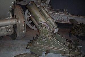 25 cm schwerer Minenwerfer - n/A model with long barrel, at the Australian War Memorial, Canberra