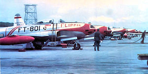 25th Fighter Squadron - New F-80C Shooting Stars at Itazuke Air Base, Japan, 1950 (49-801 in foreground)