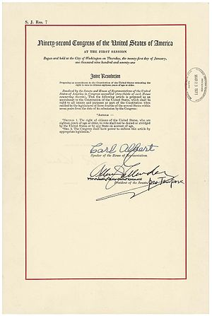 Twenty-sixth Amendment to the United States Constitution - The Twenty-sixth Amendment in the National Archives