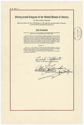 Twenty-sixth Amendment to the United States Constitution - The Twenty-sixth Amendment in the National Archives