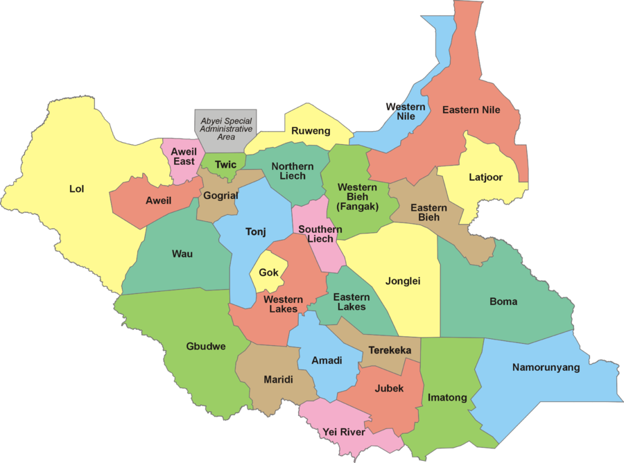 The 28 states of South Sudan as