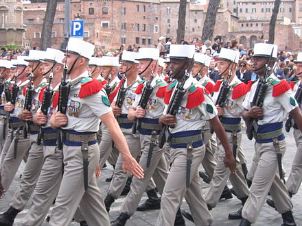 Because of its slower pace, the Foreign Legion is always the last unit marching in any parade (Parade in Rome, June 2007). 2june 2007 296.jpg