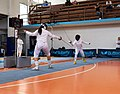2nd Leonidas Pirgos Fencing Tournament. Preparation for the fencer on the left.jpg