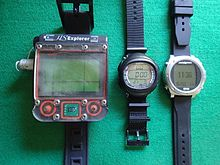 Three representative wrist-mount dive computers