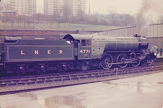 LNER Class V2 4771 Green Arrow - Green Arrow at Sheffield while on a charter service in late 1978 or early 1979