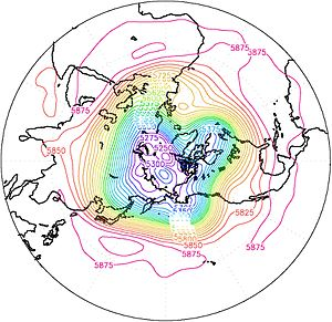 Zonal wavenumber - 500mb geopotential height averaged between October 9–21, 2010 illustrating Rossby wave pattern with the zonal wavenumber 4. DOE AMIP reanalysis data.