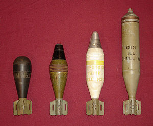 M2 mortar - 60mm mortar shells for the U.S. M2 Mortar. Left-to-Right: M69 Training/Practice, M49A2 High Explosive, M302 White Phosphorus/Smoke, M83 Illuminating (parachute flare)