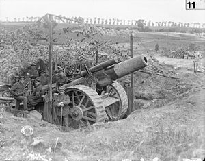 BL 8-inch howitzer Mk I–V - Eight-inch howitzer Mk V near Carnoy, Battle of Albert, July 1916