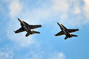 Boeing F/A-18E/F Super Hornet - F/A-18F Super Hornet (left) and a F/A-18A Hornet (right)