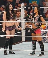 AJ Lee standing in a wrestling ring with Paige