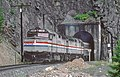 AMTK-SP Train 14, the Coast Starlight, at the portal of Tunnel 21, near Pryor, OR on July 30, 1987 (33143567452).jpg