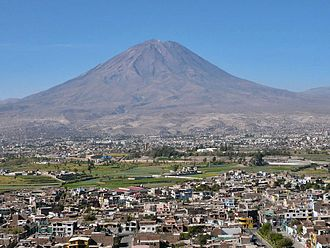 Jacobo Hunter District - Panoramic view of Arequipa from Hunter District below.