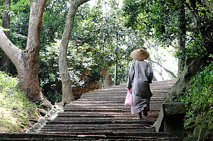 A Chinese nun ascending steps on Mount Putuo Shan island A Chinese nun climbing ascending steps on Mount Putuo Shan island.JPG