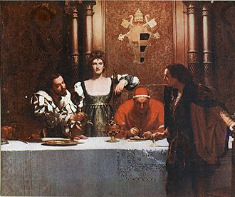 "House of Borgia - Painting by John Collier, ""A glass of wine with Caesar Borgia"", from left: Cesare Borgia, Lucrezia, Pope Alexander, and a young man holding an empty glass. The painting represents the popular view of the treacherous nature of the Borgias - the implication being that the young man cannot be sure that the wine is not poisoned."