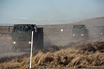 A U.S. Air Force convoy assigned to the 726th Air Control Squadron (ACS) moves across the Idaho desert, roughly 75 miles from Mountain Home Air Force Base in Idaho, Oct. 4, 2013, during Mountain Roundup 2013 131004-F-WU507-028.jpg