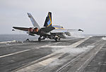 A U.S. Navy F-A-18C Hornet aircraft assigned to Strike Fighter Squadron (VFA) 146 launches from the aircraft carrier USS Nimitz (CVN 68) in the Gulf of Oman Aug. 21, 2013 130821-N-GA424-092.jpg