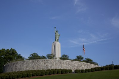 Statue of Liberty replica at Liberty Park in Vestavia Hills A bronze replica (one-fifth size) of the Statue of Liberty, Birmingham, Alabama LCCN2010639411.tif
