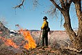 A firefighter watches a burning vegetation pile. These piles are accumulations of plant material from the clearing of exotic (ef1d0902-f5e6-4387-a872-04c66e0910c1).jpg