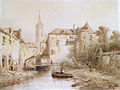 A view of a town with a bell tower by Salomon Leonardus Verveer (1813-1876).jpg