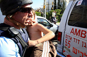 Israeli child injured from Hamas Grad rocket f...