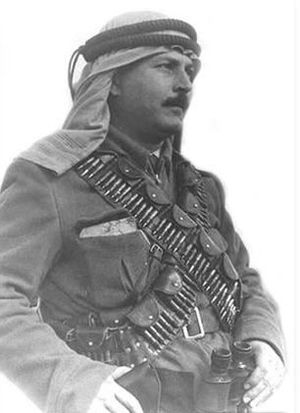 Abd al-Qadir al-Husayni, leader of the Army of the Holy War in 1948 Abdel Kader al-Husseini flip.jpg