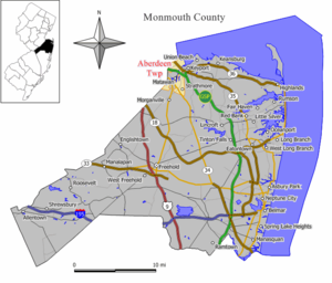 Map of Aberdeen Township in Monmouth County. I...