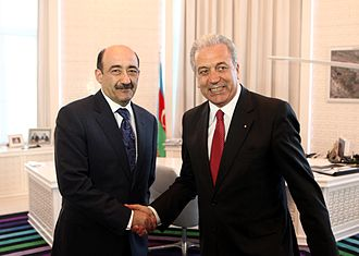 Azerbaijan–Greece relations - Foreign Minister of Greece Dimitris Avramopoulos (right) meeting with the Minister of Culture and Tourism of Azerbaijan Abulfas Garayev in April 2013