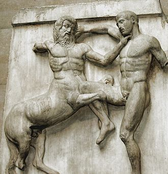 Elgin Marbles - Metope from the Elgin marbles depicting a Centaur and a Lapith fighting