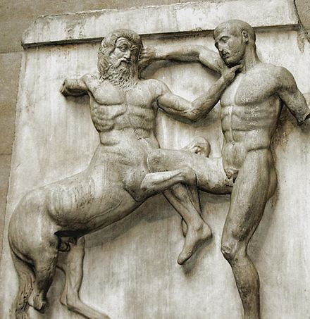 High relief metope from the Classical Greek Elgin Marbles. Some front limbs are actually detached from the background completely, while the centaur's left rear leg is in low relief. Ac marbles.jpg