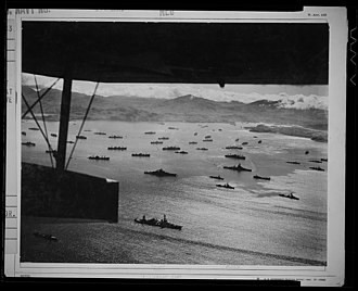 Aleutian Islands Campaign - Part of the huge U.S. fleet at anchor, ready to move against Kiska.