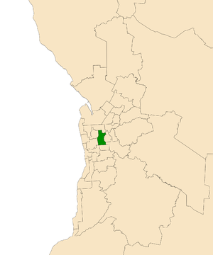 Electoral district of Adelaide - Electoral district of Adelaide (green) in the Greater Adelaide area