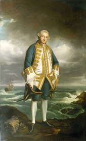 An oil painting of a man in 18th-century attire against a background of the sea