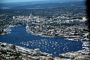 Aerial view of Lake Union on July 4, 2011, with numerous boats gathered for the July 4th fireworks show.