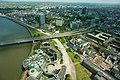 Aerial view of Düsseldorf, with Rheinkniebrücke, seen from Rheinturm, Düsseldorf, Western Germany, Western Europe. May 6, 2013.jpg