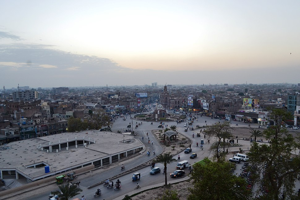 Aerial view of Multan Ghanta Ghar chawk