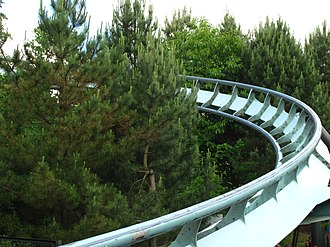 Steel roller coaster - A close-up of the tubular steel tracks. (Air at Alton Towers)