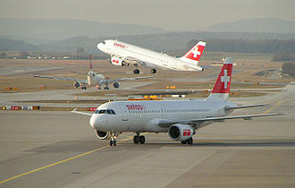 Swiss International Air Lines - An Airbus A320, 319 and 330, all in the old livery