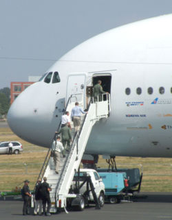 Boarding an Airbus 380 at the Farnborough Air Show, 2006