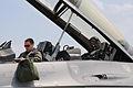 Alabama Air National Guard Capt. Steve Strandburg, left, prepares to fly Lt. Gen. Serhiy Onyschenko in an Air National Guard F-16D Fighting Falcon aircraft for an orientation flight at Mirgorod Air Base 110722-Z-ZZ999-207.jpg
