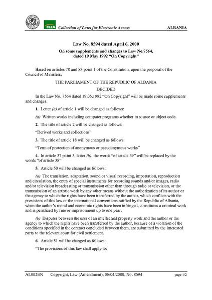 """File:Albanian Law No. 8594 dated April 6, 2000 On some supplements and changes to Law No.7564, dated 19 May 1992 """"On Copyright"""".pdf"""