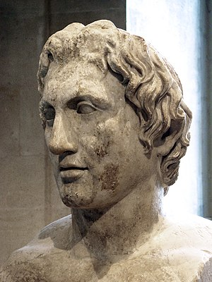 Wars of Alexander the Great - Herma of Alexander (Roman copy of a 330 BC statue by Lysippus, Louvre Museum). According to Diodorus, the Alexander sculptures by Lysippus were the most faithful.