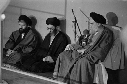 9 October 1981, Jamaran, Tehran; Ruhollah Khomeini as supreme leader of Iran sings presidential decree of Ali Khamenei. Ali Khamenei first presidency decree by Rohullah Khomeini (3).jpg