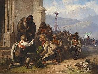 "Tyrol (state) - Tiroler Wallfahrer (""Tyrolean pilgrims"") by Alois Schönn, 19th century."