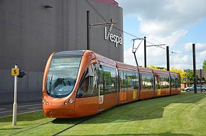 Trams in France - The popular Citadis 302, seen here in Le Mans - Design by RCP Design Global agency
